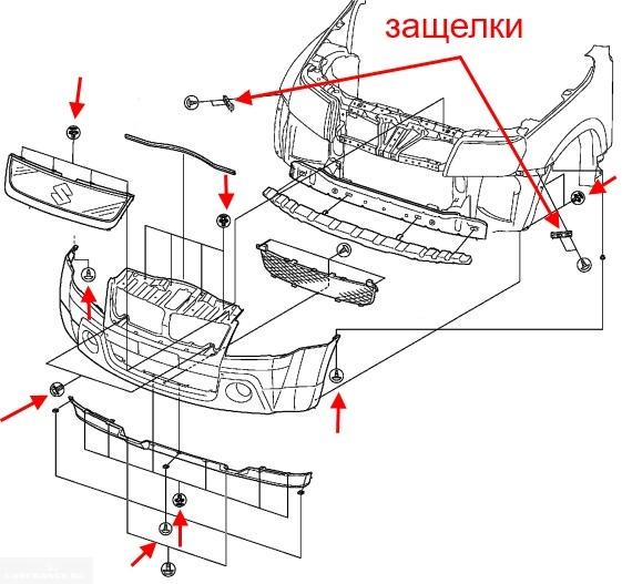 Схема крепления переднего бампера на автомобиле Сузуки Гранд Витара