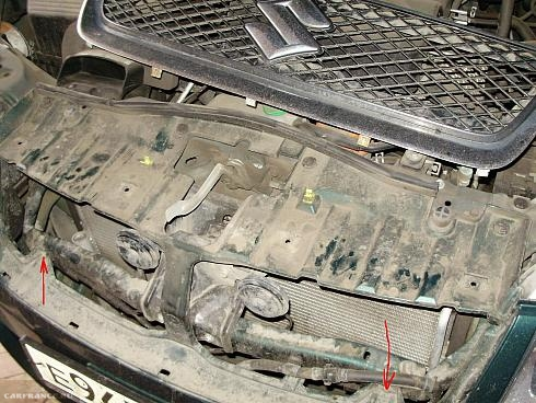 Демонтаж пластиковой передней панели Сузуки Гранд Витара