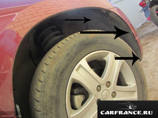 Схема расположения креплений подкрылок к бамперу и кузову на Сузуки Гранд Витара