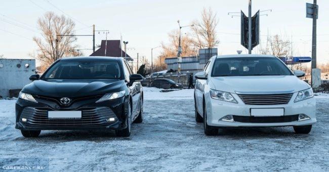 Сравнение внешнего вида передней части старой и новой Тойота Камри 2018 года
