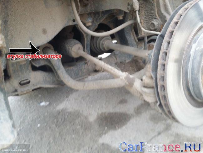 Месторасположение втулок стабилизатора на автомобиле Сузуки Гранд Витара, вид снизу