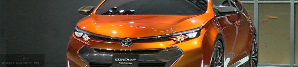 Концепт Тойоты Короллы 2019 модельного года представленный в салоне Детроит в оранжевом цвете