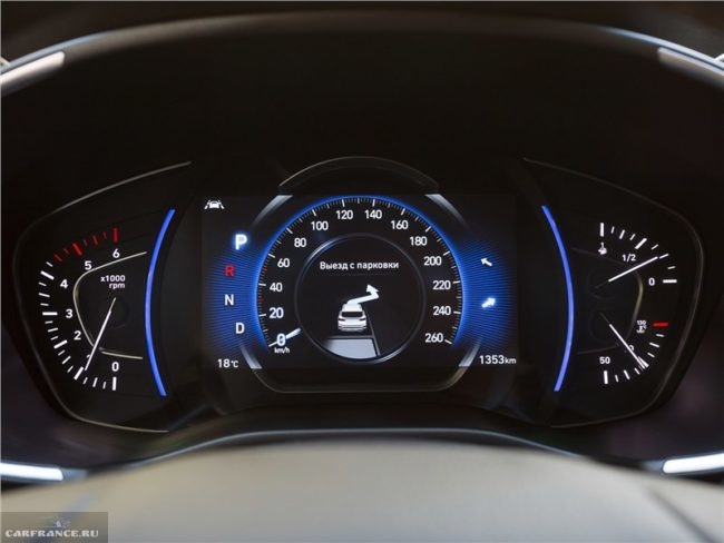 Цифровой дисплей панели приборов в автомобиле Хёндай Санта Фе 2019 года