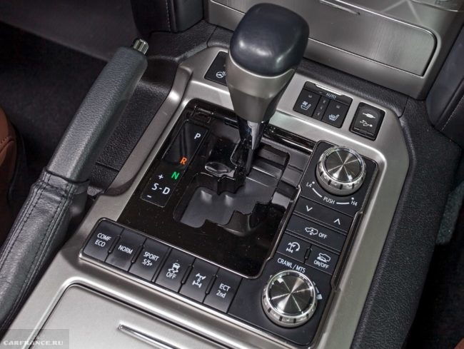 Блок управления режимы работы трансмиссии в салоне Тойота Ленд Крузер 200 2019 модельного года