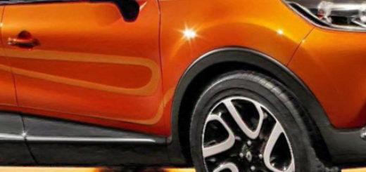 Рено Каптур 2019 модельного года в оранжевом цвете вид сбоку