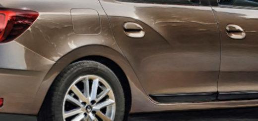 Рено Логан вид сбоку кузов 2019 модельного года светло-коричневый цвет
