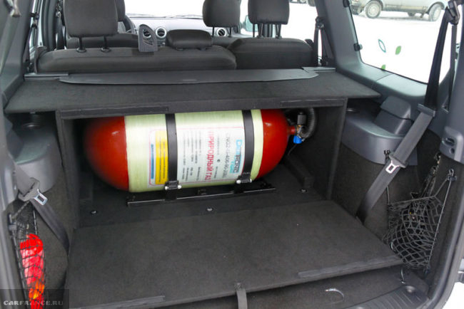 Газовый баллон внутри багажного отделения Лада Ларгус кросс 2019 года