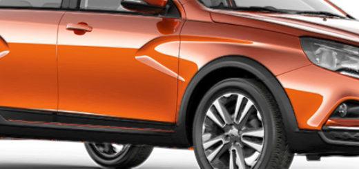 Лада Веста Кросс 2019 модельного года вид сбоку в оранжевом цвете