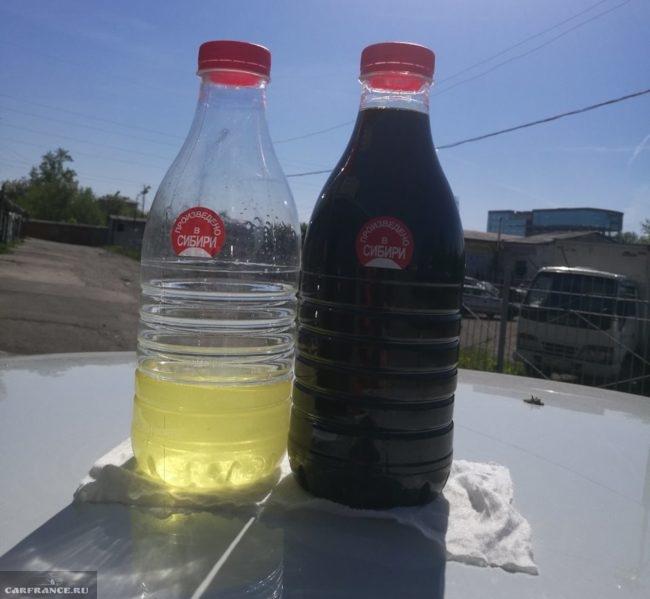 Сравнение отработанного масла из коробки передач с новой жидкостью