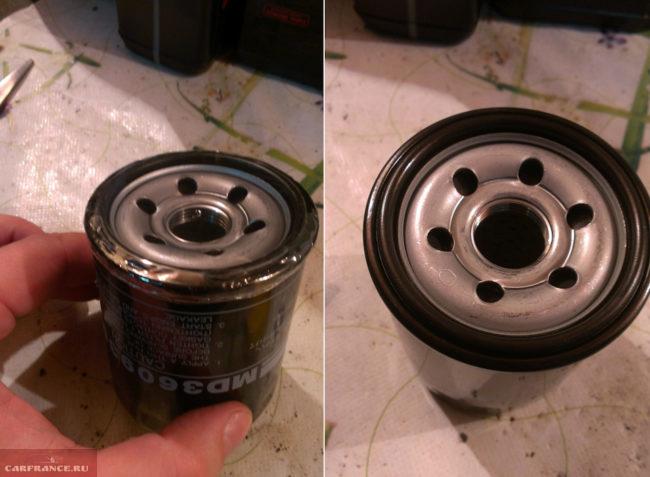 Смазка моторным маслом резиновой прокладки фильтра для Митсубиси Лансер 9 с двигателем 1.6