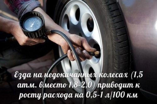 Влияние давления в шинах на расход топлива автомобиля Митсубиси Лансер 9 с АКПП
