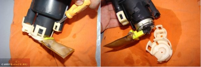 Демонтаж крышки электробензонасоса от автомобиля Митсубиси Лансер 9
