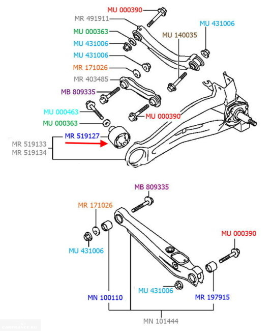 Схема задней подвески автомобиля Митсубиси Лансер 9 с указанием артикулов