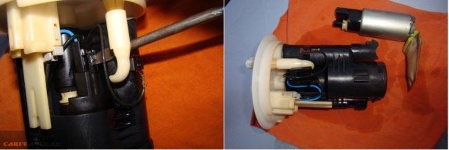 Снятие электробензонасоса с модуля топливного насоса в Митсубиси Лансер 9