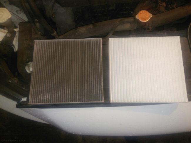 Старый и новый салонные фильтры от автомобиля Митсубиси Лансер 10