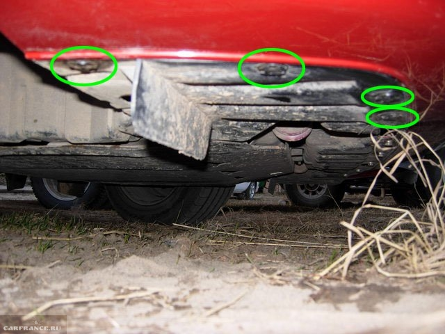 Пистоны крепления защиты двигателя к бамперу седана Митсубиси Лансер 10