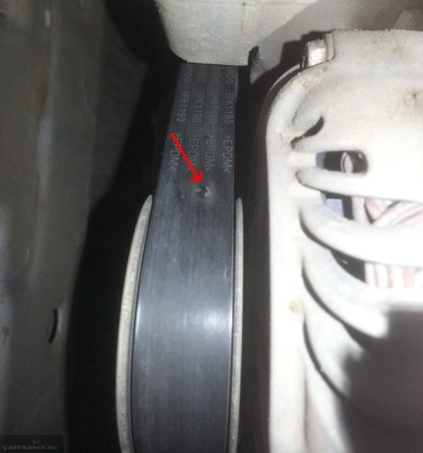 Повреждение обводного ремня генератора и насоса ГУРа на двигателе Митсубиси Лансер 10