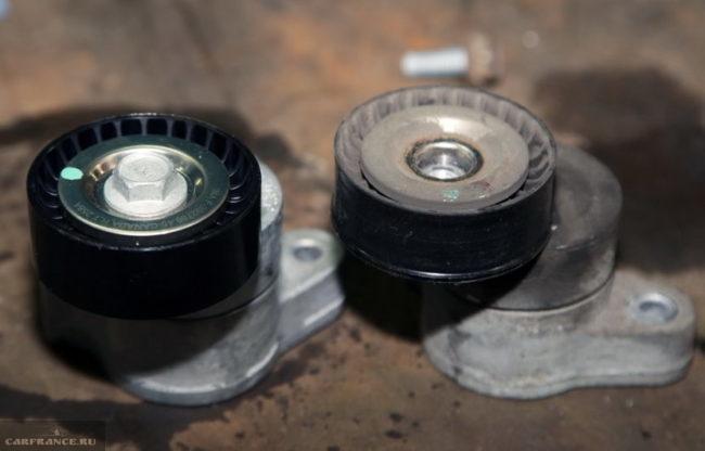Сравнение старого и нового роликов ременного привода Митсубиси Лансер 10 1.5 литра