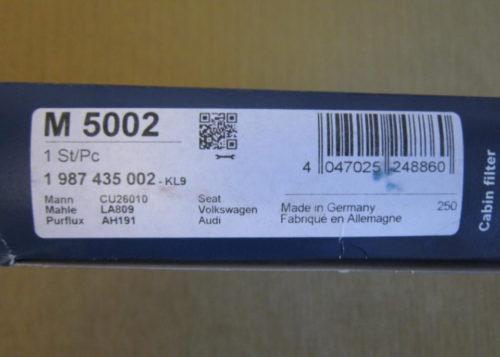 Штрих-код на упаковке с бумажным фильтром Bosch 1987435002 для седана Фольксваген Поло