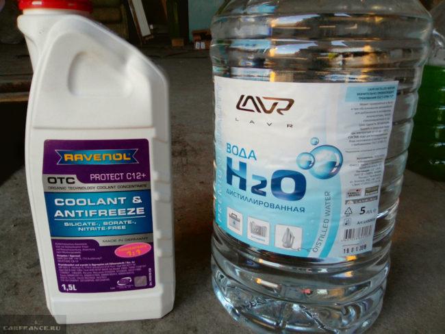 Концентрат ОЖ Protect C12+ и дистиллированная вода для самостоятельной подготовки охлаждающей жидкости