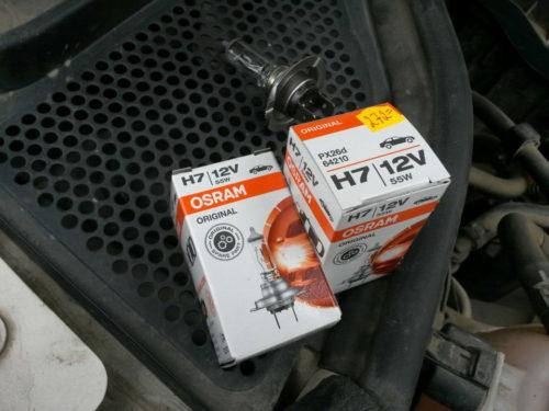 Лампы ближнего света Н7 для замены в передней фаре Фольксваген Поло седан