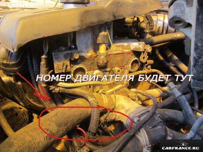 Схема расположения номера двигателя на Лада Приора 16 клапанов