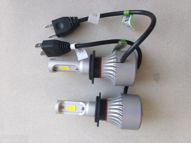 Светодиодные лампы H7 в цоколь фары на Лада Приора